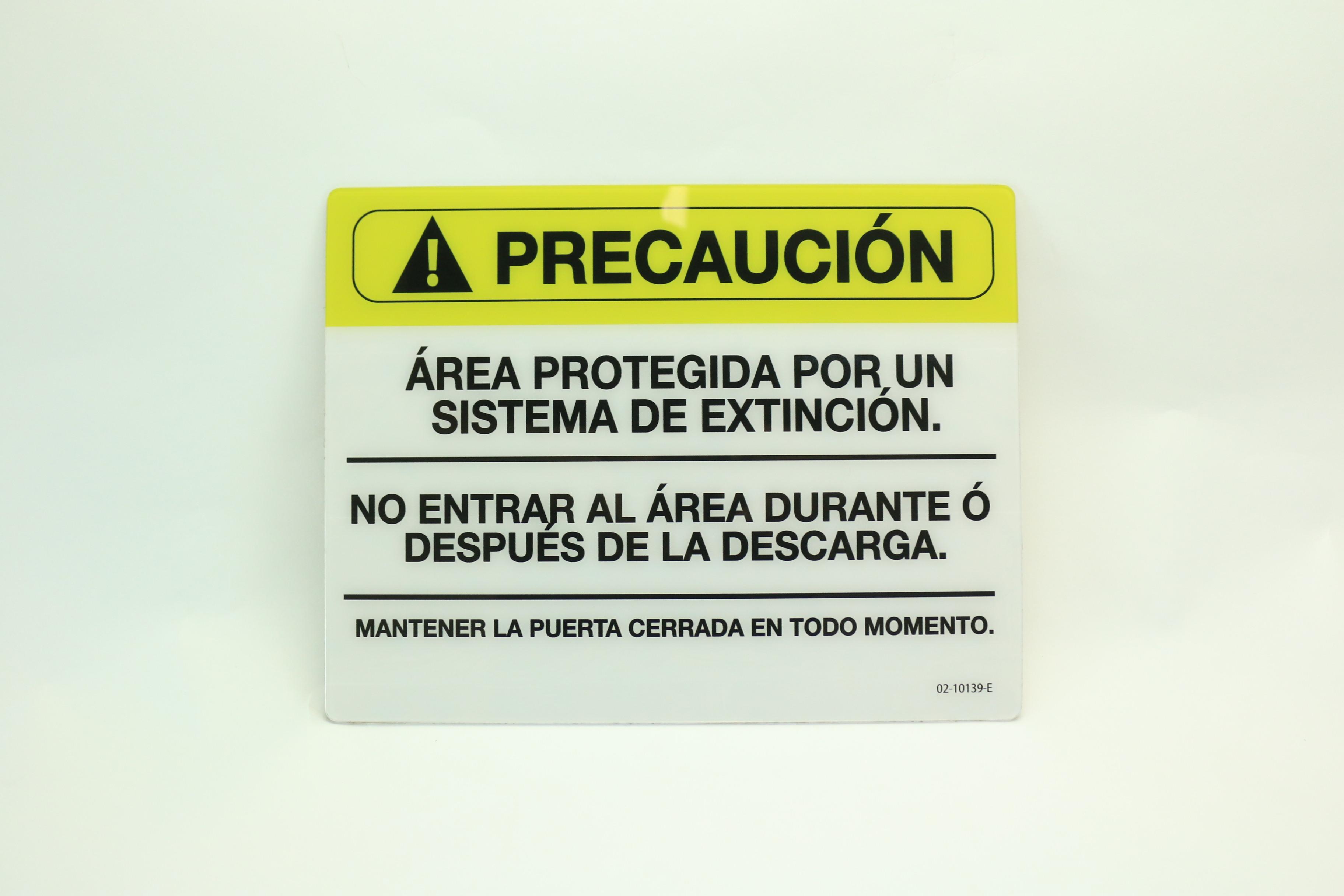 02-10139@ LETRERO DE SEÑALIZACIÓN CUARTO PROTEGIDO CON AGENTE LIMPIO
